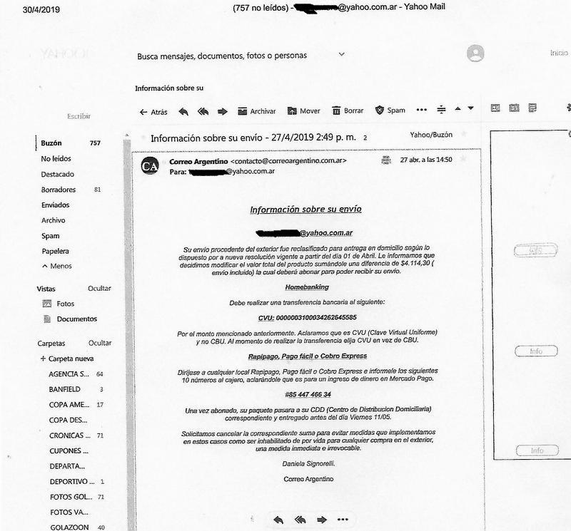 Denuncian intento de estafa a través de e-mails de Correo Argentino