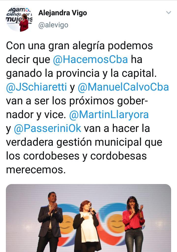 Declaraciones en Twitter de Alejandra Vigo