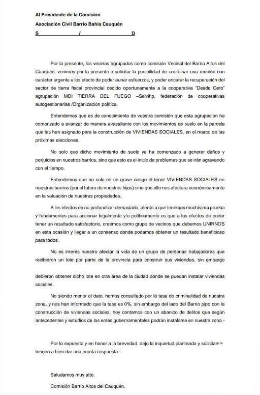 La carta firmada por Echazarreta