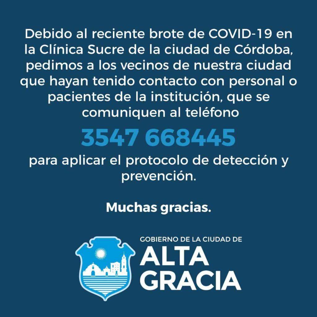 El Gobierno de la ciudad dispuso el teléfono 3547 668445 para dar aviso de contactos con la clínica capitalina.