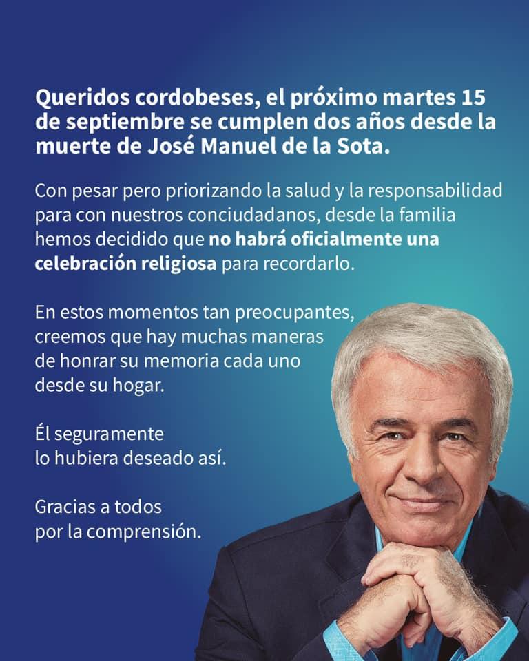 Flyer que difundió Natalia de la Sota, hija del ex gobernador