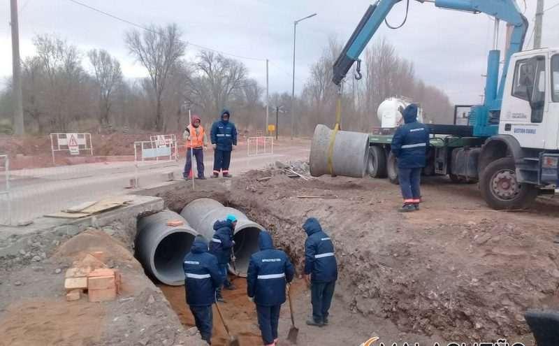 Avanza la obra de desagües pluviales en Malagueño