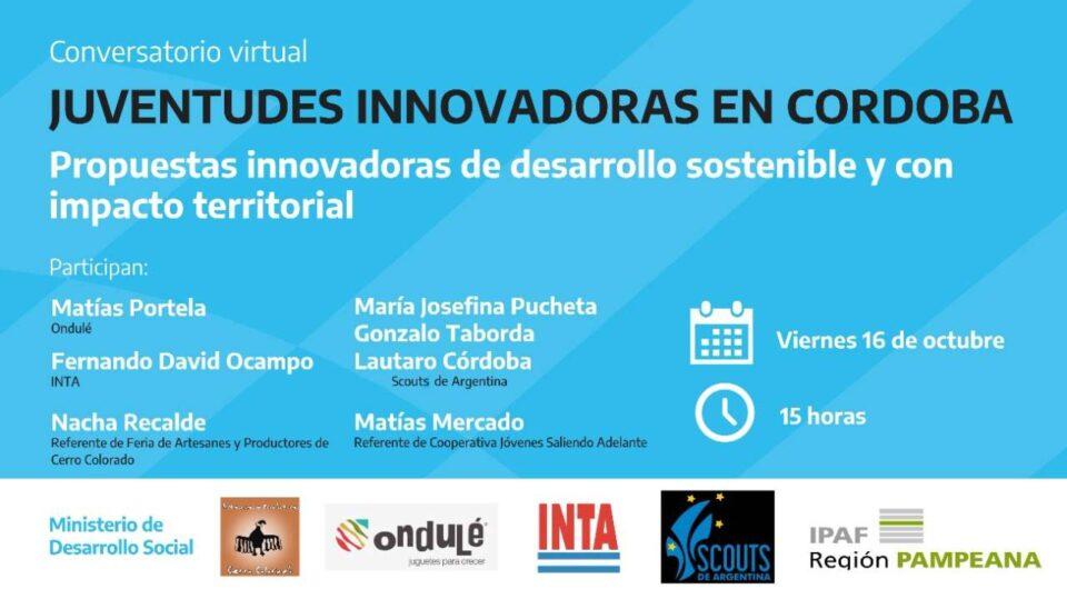 Invitan a conversatorio virtual sobre propuestas innovadoras de jóvenes cordobeses