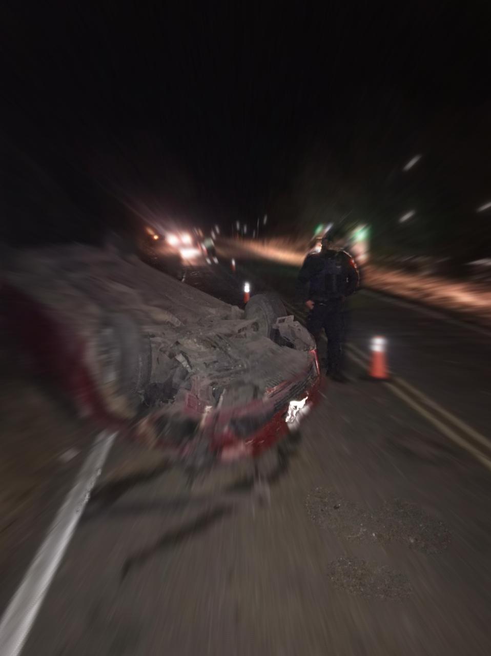 Malagueño: Un vehículo dado vuelta obstruía la ruta, no encontraron a los ocupantes